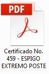 certificado de calidad de herrajes electricos espigo extremo poste